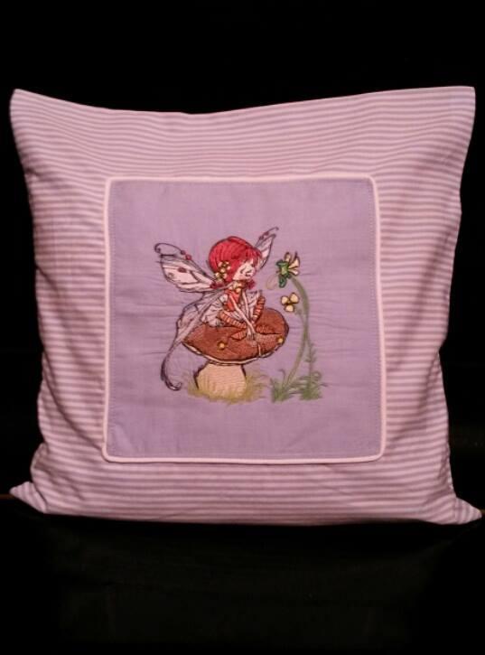Cushion with Mushroom fairy embroider design