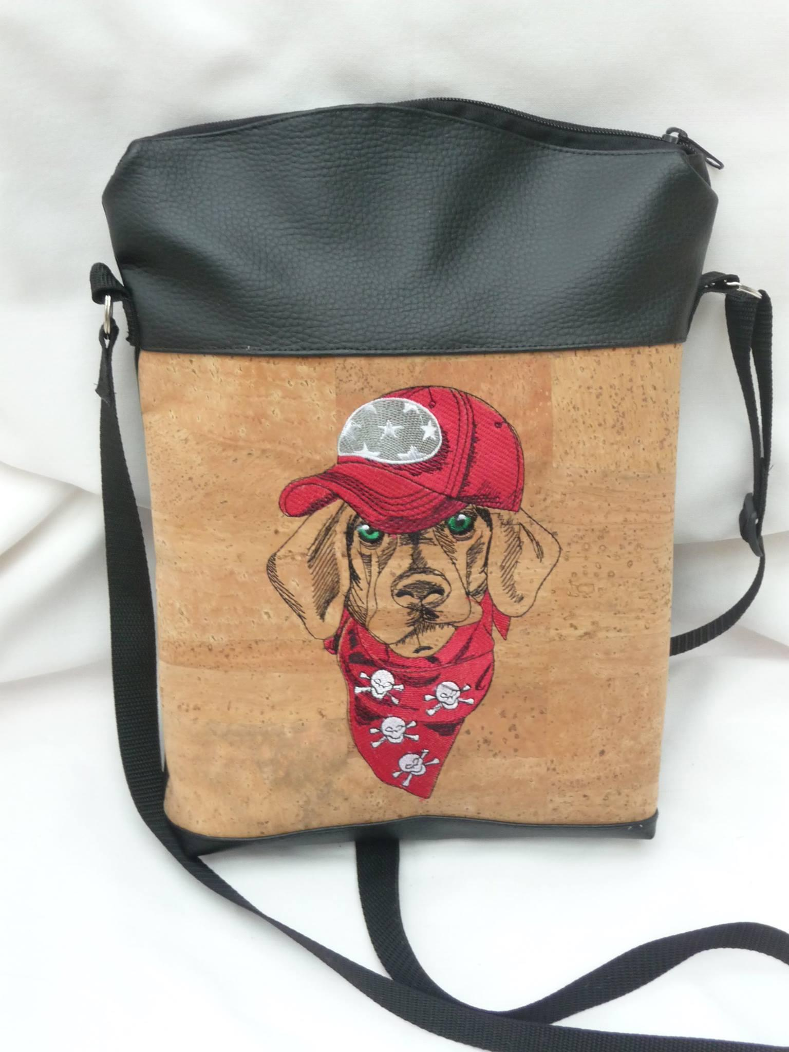 Handbag with Stylish dachshund machine embroidery design