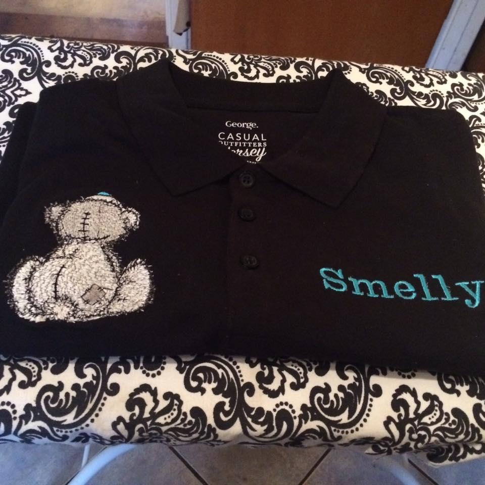 Black cotton shirt with Teddy Bear missing you  embroidery design