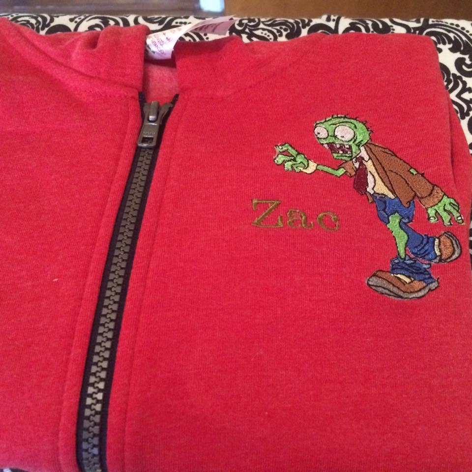 Hoodie with Zombie embroidery design