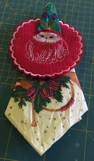 Serviette holder santa claus free embroidery design