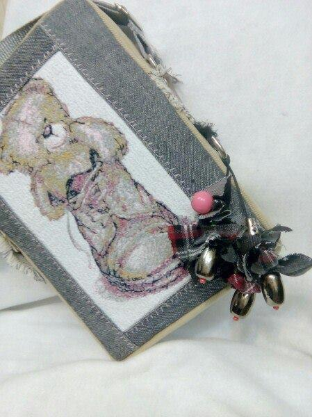 Small bag with teddy bear photo stitch embroidery design