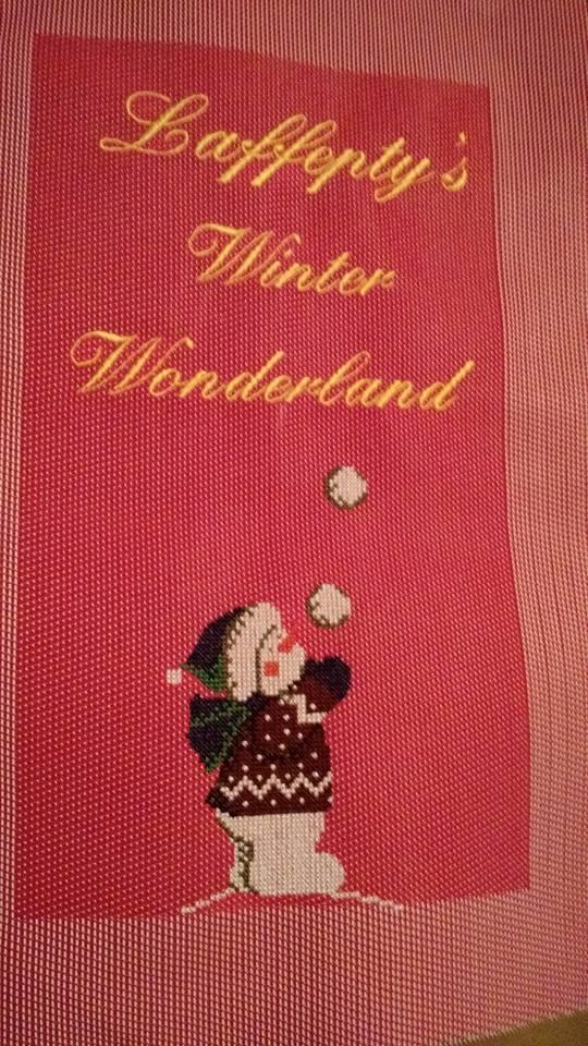 Garden Flag with snowboy game cross stitch free embroidery design