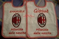 Babay bibs with AC Milan machine embroidery design