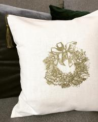 Cushion with Christmas wreath embroidery design