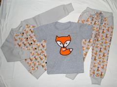 Baby outfit with Fox machine embroidery design