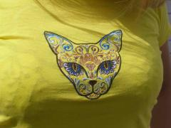 Shirt with Mexican cat machine embroidery design