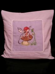 Cushion with Mushroom fairy embroider design