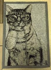 Cat and mouse free machine embroidery design