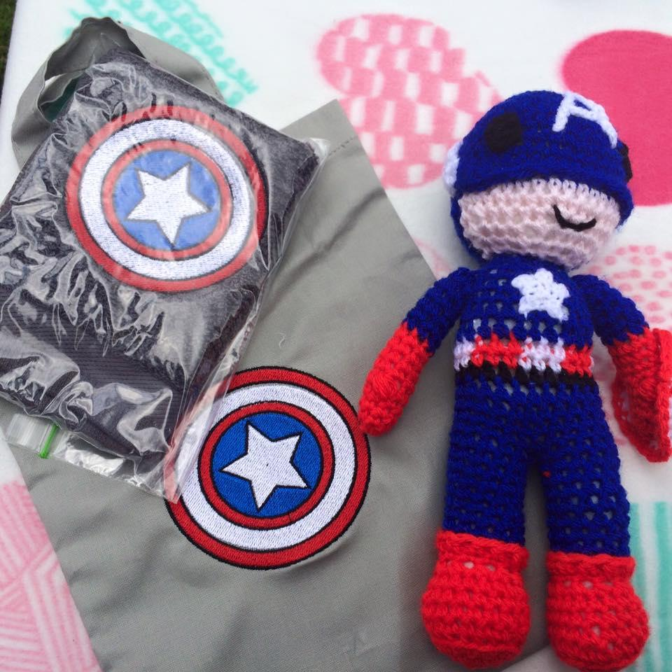 Embroidered items with Captain America Shield embroidery design