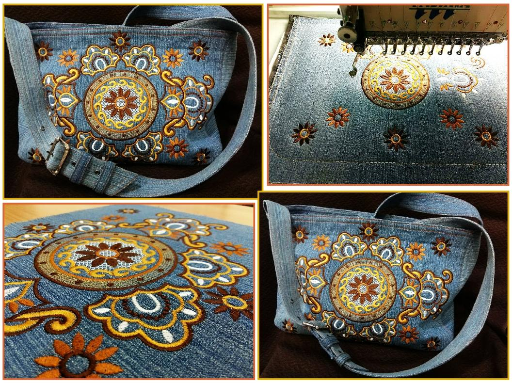 Embroidered bag with free decoration