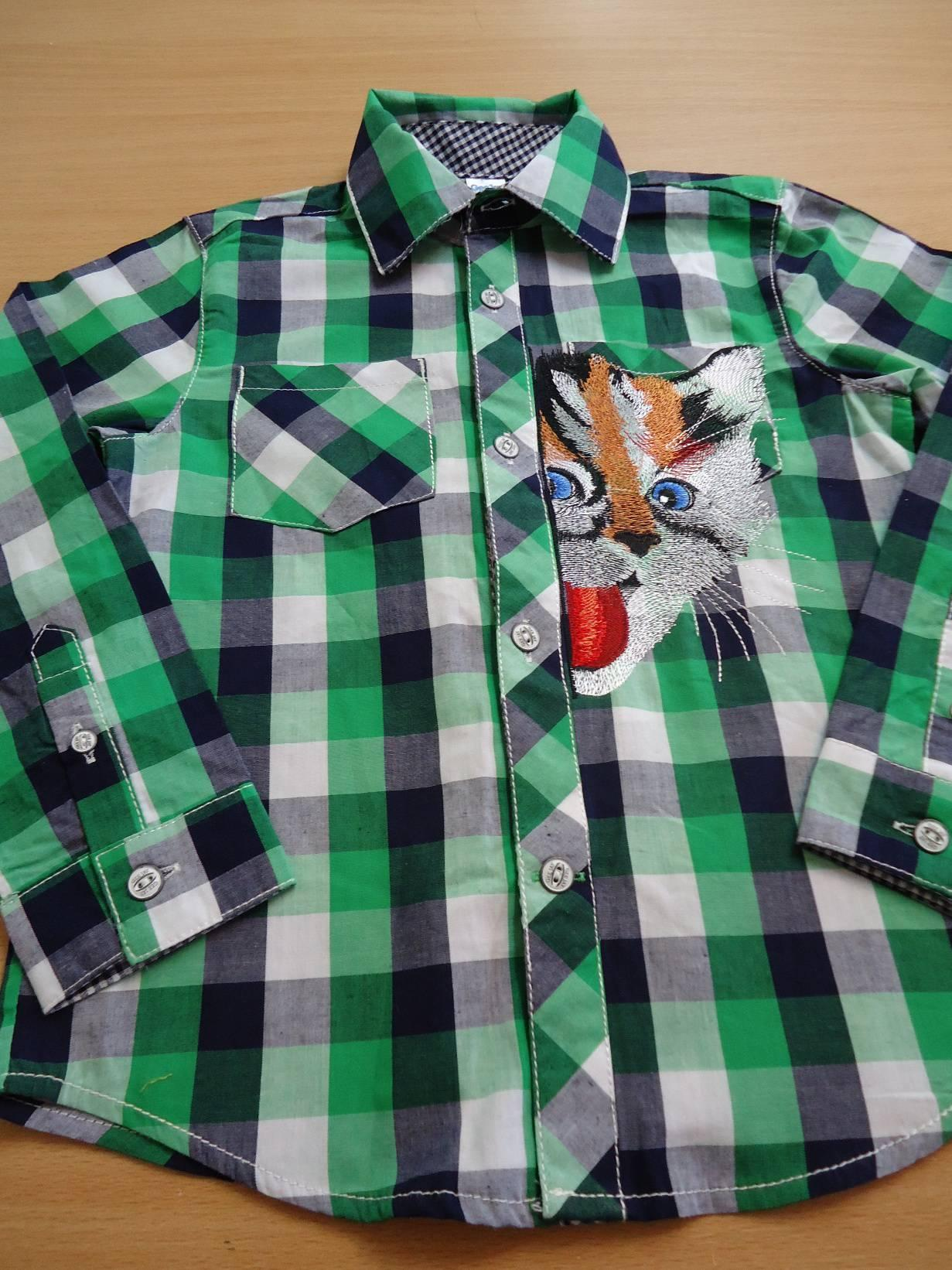 Embroidered men's shirt with kitty design