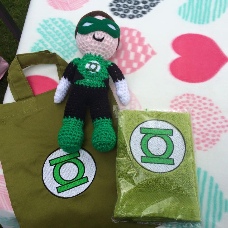 Toys with Green Lantern logo embroidery design