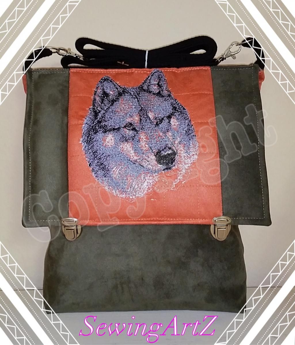 Denim bag with wolf muzzle free machine embroidery design