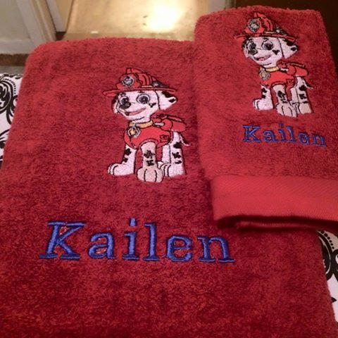 Towels with Marshall embroidery design
