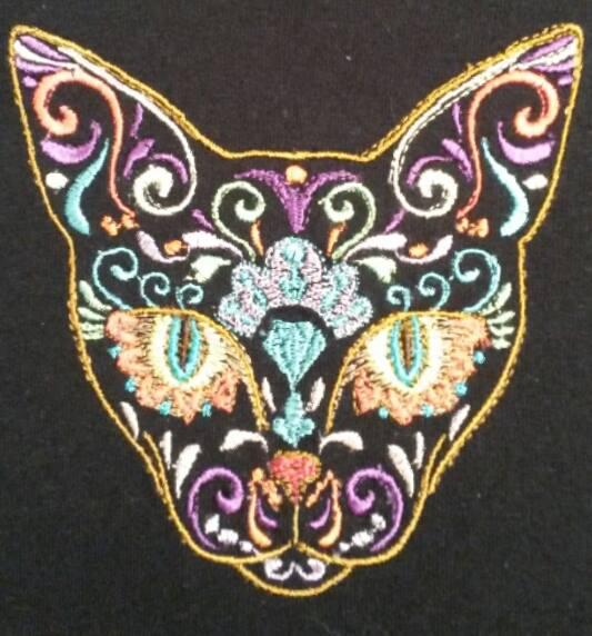Mexican cat machine embroidery design - Showcase with free