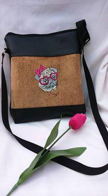 Hand bag with posh pug-dog machine embroidery design