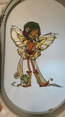 In hoop young fairy with frog embroidery design