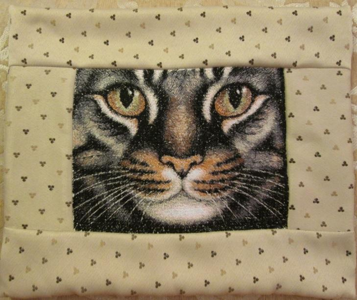 Carpet with cat photo stitch free embroidery