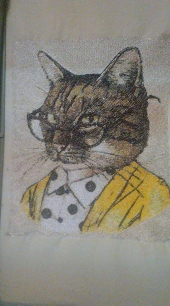Cat with glasses photo stitch free embroidery