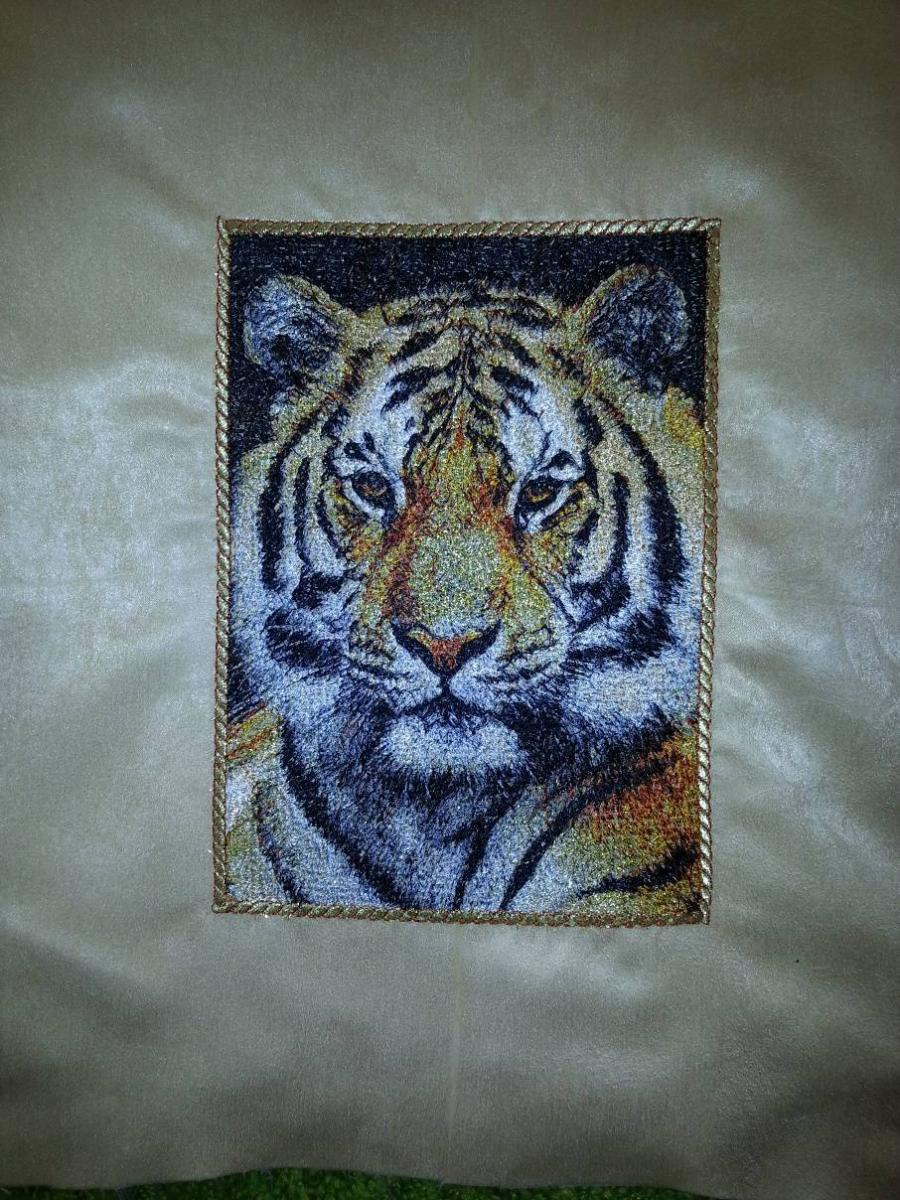 Embroidered cushion with tiger photo stitch
