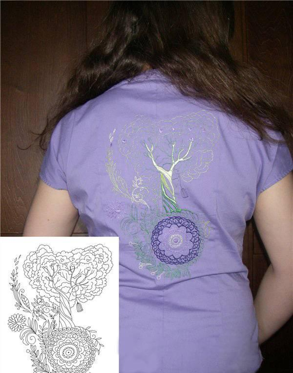 Love tree free embroidery design on girl's blouse
