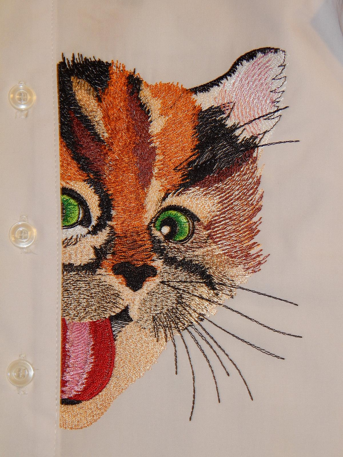 Playing kitty embroidered shirt