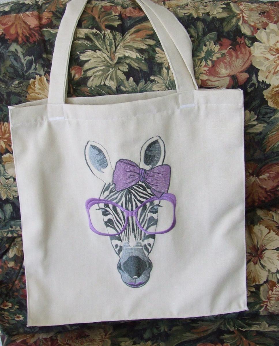 Shop bag zebra free embroidery