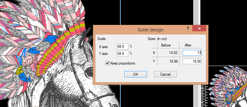 Enter height and width for design