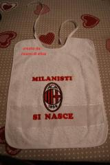 Baby bib with AC Milan machine embroidery design