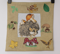Cushion with hedgehog photo stitch free embroidery
