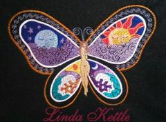 Fantastic Butterfly Night and Day free machine embroidery design