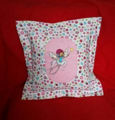 Cushion with Flying fairy with magic wand embroidery design