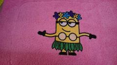 Towel with Hawaiian Minion embroidery design