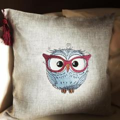 Cotton cushion with owl in glasses machine embroidery design