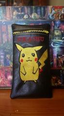 Leather case with Pikachu embroidery design