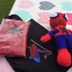 Towel with Spiderman rushes to rescue embroidery design