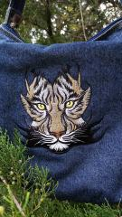 Denim bag with tribal tiger embroidery design