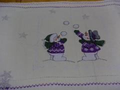 Christmas snowgame cross stitch free embroidery design placemat