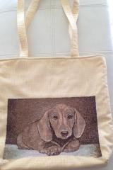 Embroidered bag with puppy free embroidery design