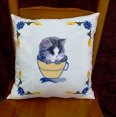 Embroidered cushion with cat mug design