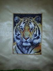 Embroidered cushion with tiger photo stitch design