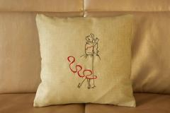 Embroidered cushion with together free design