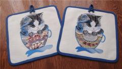 Kitchen hotholder with kitten mug free embroidery design