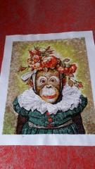 Monkey photo stitch free embroidery
