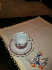 Napkin with family of geese free embroidery design