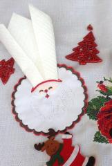 Packet of Christmas serviettes with Santa embroidery
