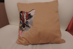 Pillow with playing kitty free embroidery