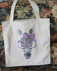 Shop bag zebra free embroidery