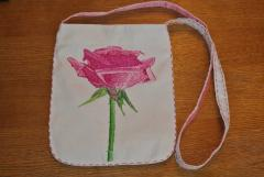 Small bag with rose photo stitch free embroidery
